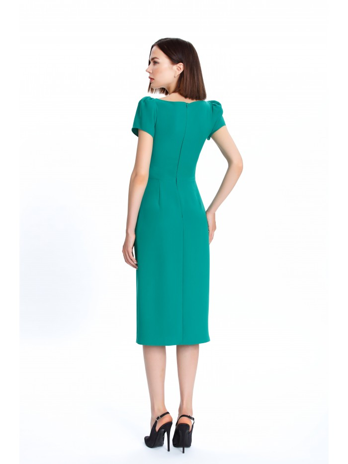 Kare Yaka Yeşil Elbise