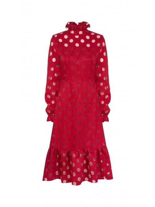 Kırmızı Puantiyeli Elbise