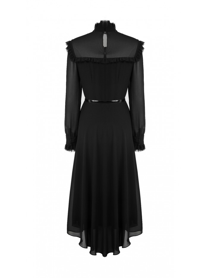 Fırfırlı Şifon Elbise