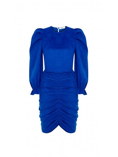 Saks Rengi Eteği Büzgülü Elbise