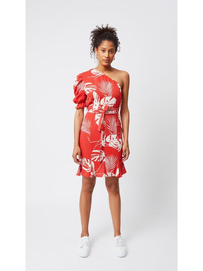 Yaprak Desenli Kırmızı Elbise