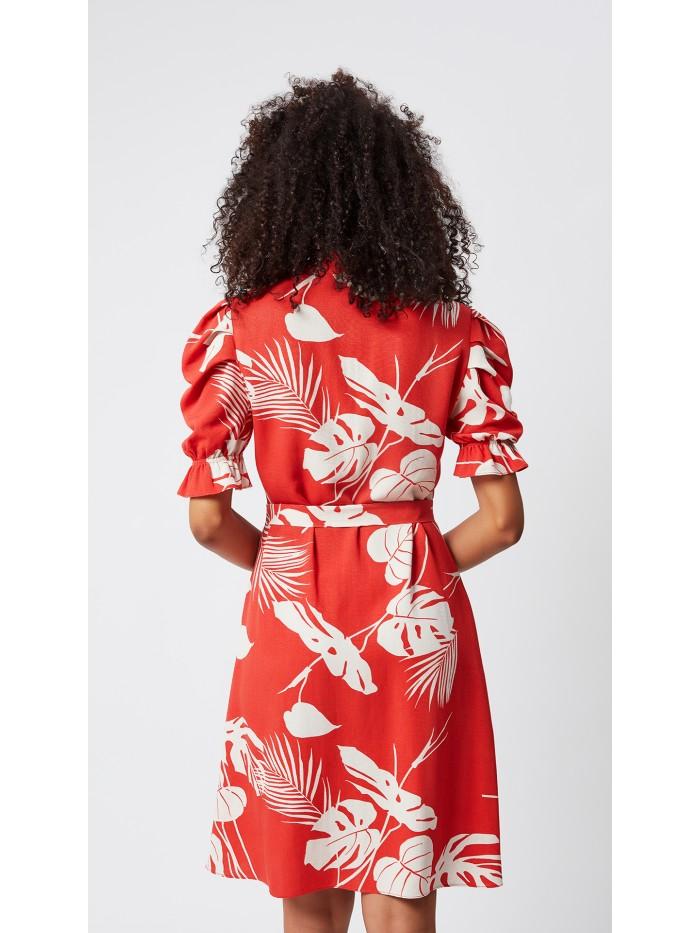 Ekru Yaprak Desenli Gömlek Elbise