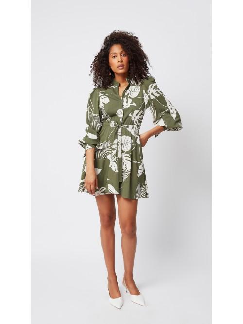Yaprak Desenli Uzun Kollu Yeşil Elbise
