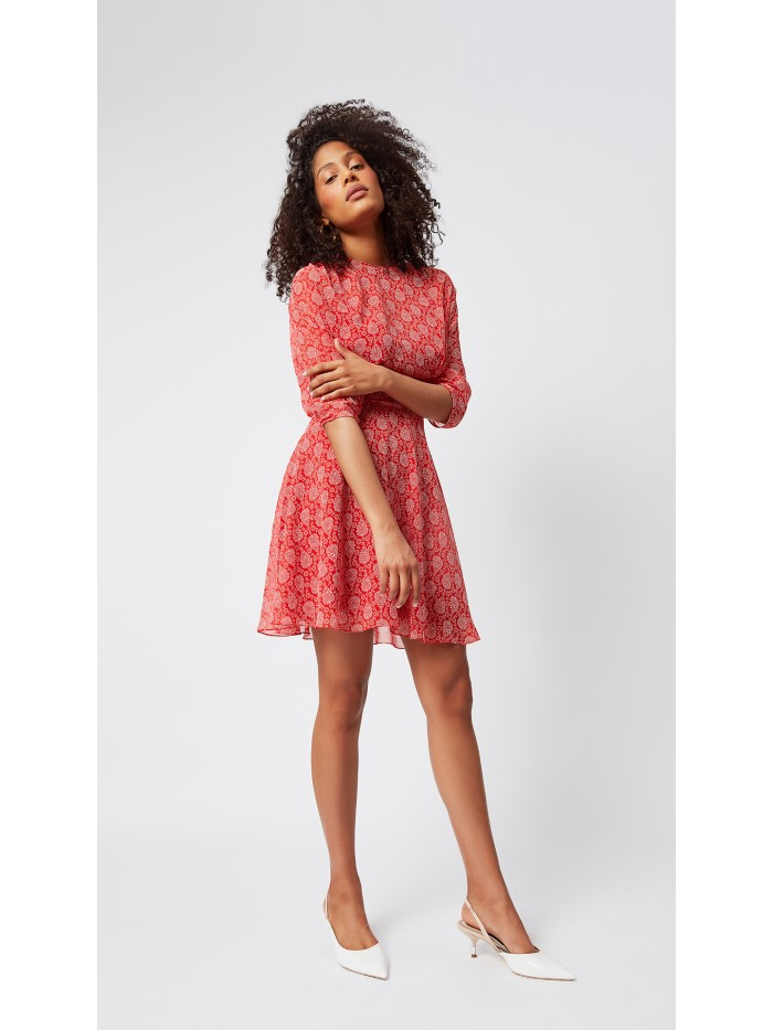 Beli Korsajlı Kırmızı Desenli Elbise