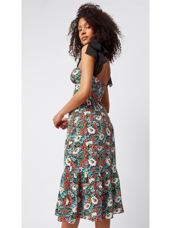 Çiçek Desenli Omuzdan Bağlamalı Elbise