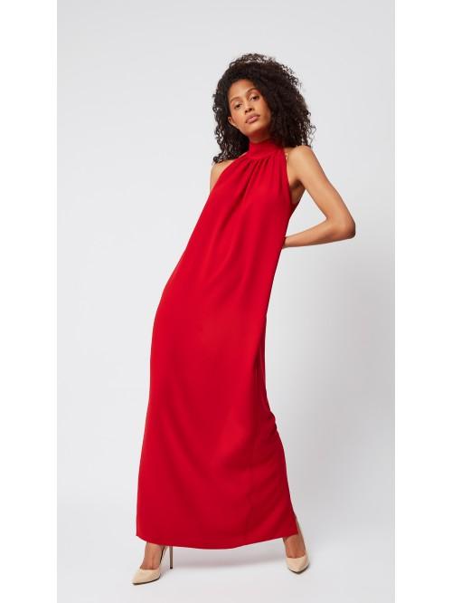 Yakası Büzgülü Kırmızı Elbise