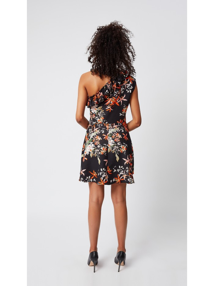 Tek Omuz Çiçekli Elbise