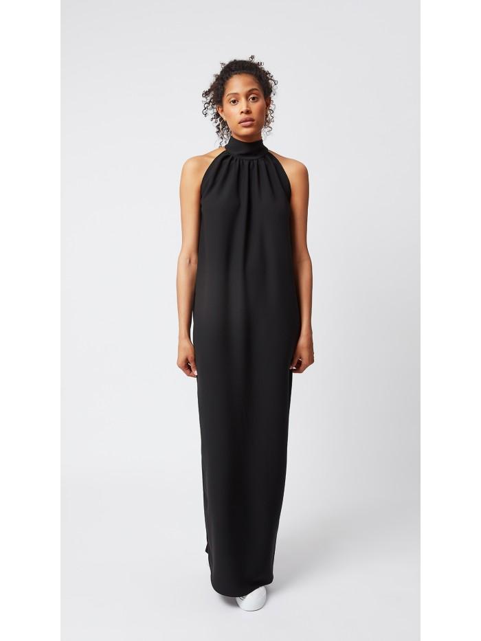 Yakası Büzgülü Siyah Elbise