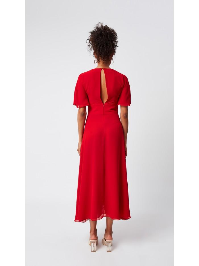 Beli Korsajlı Kısa Kollu Uzun Elbise