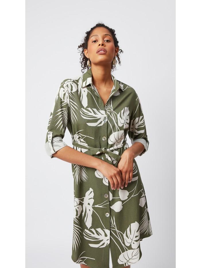 Çiçek Desenli Gömlek Elbise