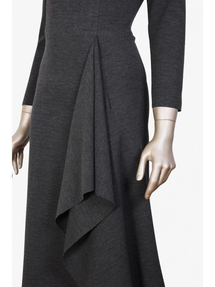 Önden Godeli Uzun Kollu Elbise