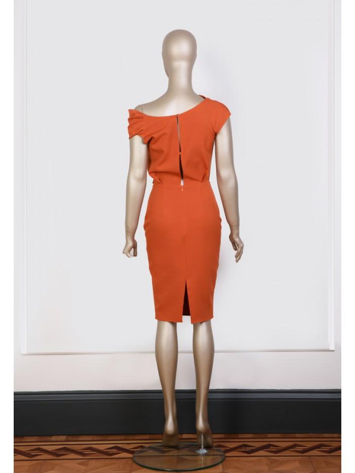 Tarçın Renkli Degaje Elbise