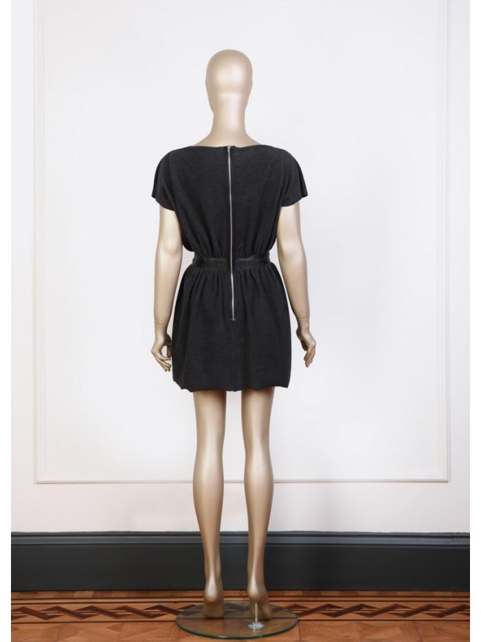 Kayık Yaka Beli Büzgülü Mini Elbise