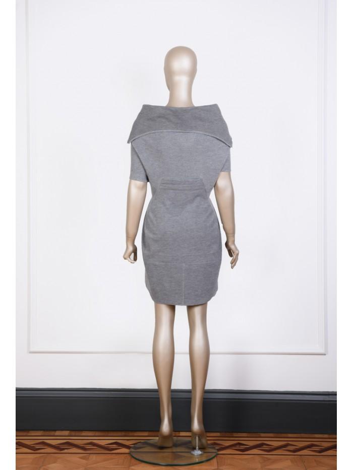 Fermuar Detaylı Gri Elbise