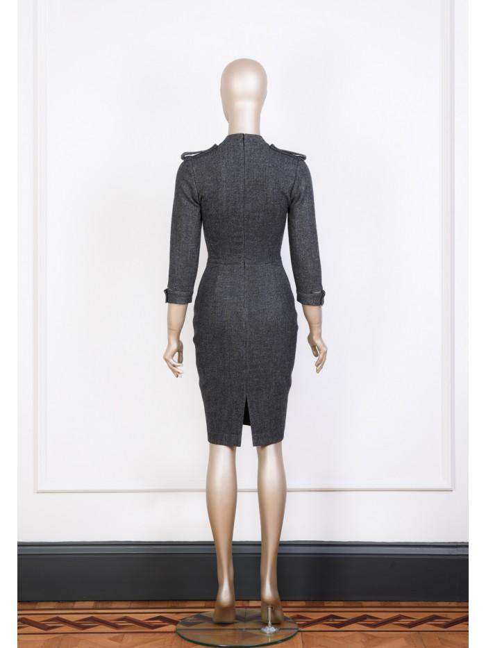 Apolet Detaylı Kalem Elbise