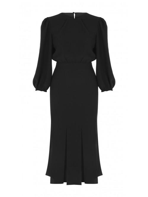Siyah Çok Yırtmaçlı Elbise