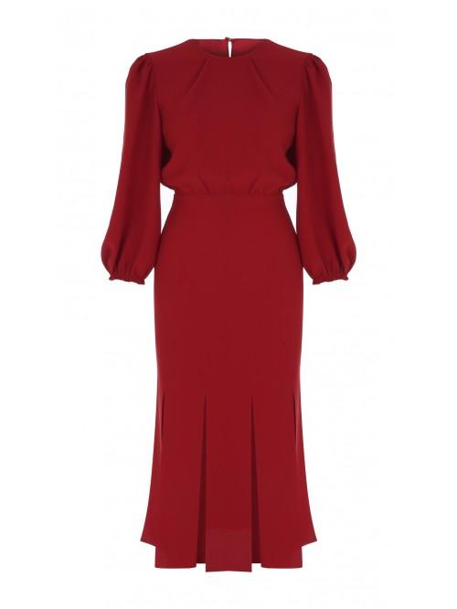 Kırmızı Çok Yırtmaçlı Elbise