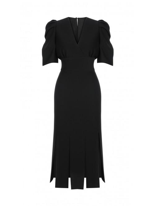 Siyah Kruvaze Yaka Elbise