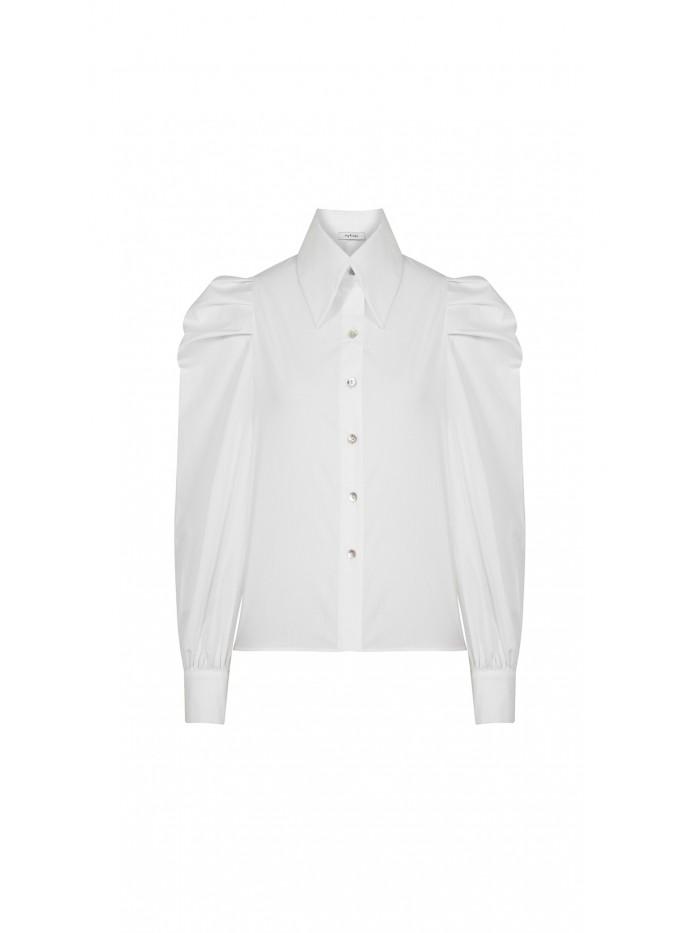 Beyaz Balon Kollu Gömlek