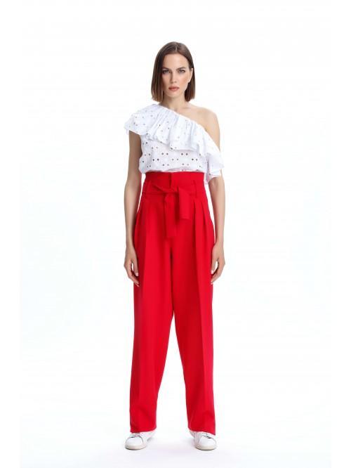 Pileli Bol Paça Kırmızı Pantolon